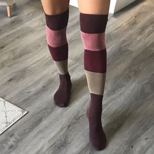 Accessories - Colorblock Over the Knee Socks